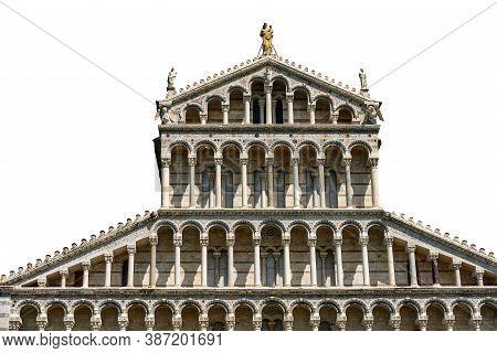 Main Facade Of The Pisa Cathedral, (duomo Of Santa Maria Assunta), In Pisan Romanesque Style, Isolat