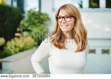 Attractive Middle Aged Woman Outdoor Portrait