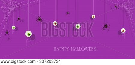 Text Happy Halloween On Purple Banner With Scary Eyes And Black Spiders On Cobwebs. Illustration Can