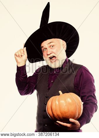 Experienced And Wise. Halloween Tradition. Cosplay Outfit. Senior Man White Beard Celebrate Hallowee