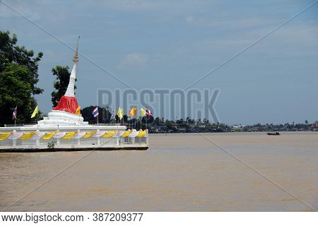 Pagoda At Koh Kret (kret Island In Chao Phraya River) Ii Is About 300 Years Old. It Is Tilting The B