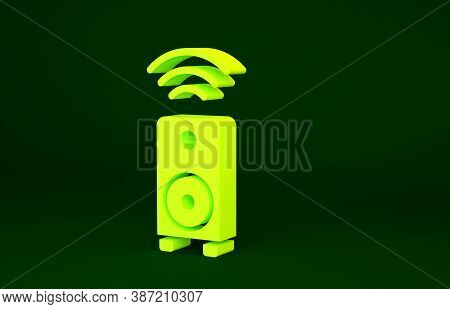 Yellow Smart Stereo Speaker System Icon Isolated On Green Background. Sound System Speakers. Interne