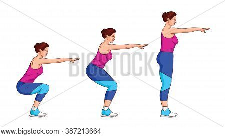 Color Vector Illustration Isolated On White Background. Side View Girl Trains With Her Own Weight. A