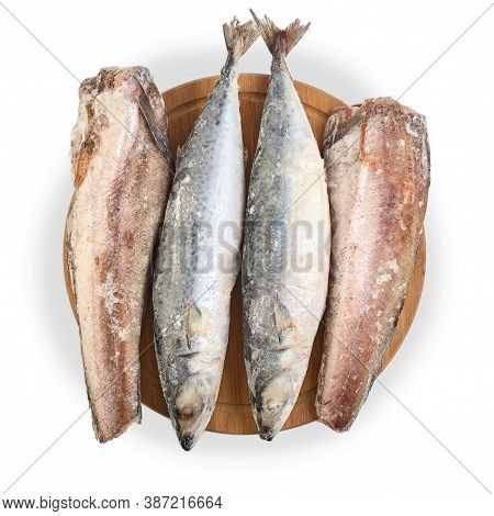 Frozen Mackerel And Hake Isolated On White Background. Assortment Of Frozen Fish.  Group Of Fish Car