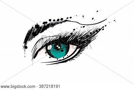 Hand Drawn Vector Illustration. Beautiful Woman Eye Makeup. Fashion Sketch. Green Eye.