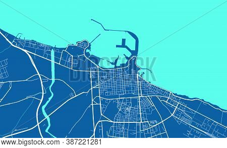 Detailed Map Of Bari City Administrative Area. Royalty Free Vector Illustration. Cityscape Panorama.