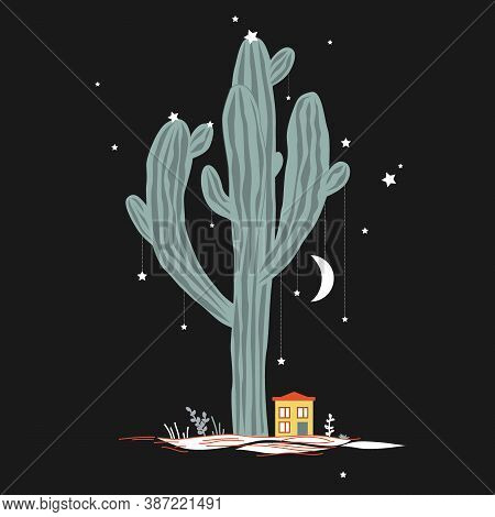 Little House At The Foot Of A Big And Sacral Saguaro Cactus. Night Landscape, Mexico Concept. Vector