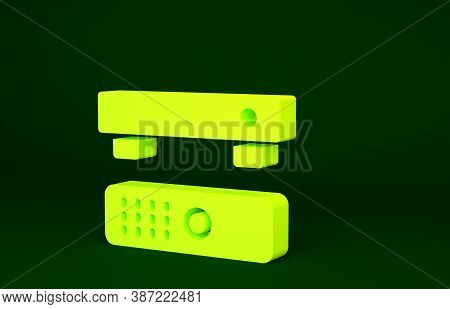 Yellow Multimedia And Tv Box Receiver And Player With Remote Controller Icon Isolated On Green Backg