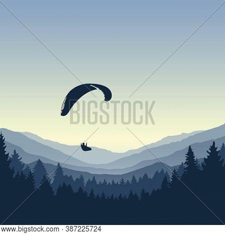 Paragliding Adventure Blue Mountain View Vector Illustration Eps10