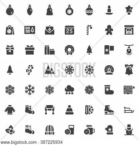 New Year And Christmas Vector Icons Set, Modern Solid Symbol Collection, Filled Style Pictogram Pack