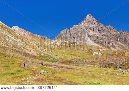 Ausangate Trek Trekking Trail With Two Tourists, Ausangate Circuit, Cordillera Vilcanota, Cuzco Regi