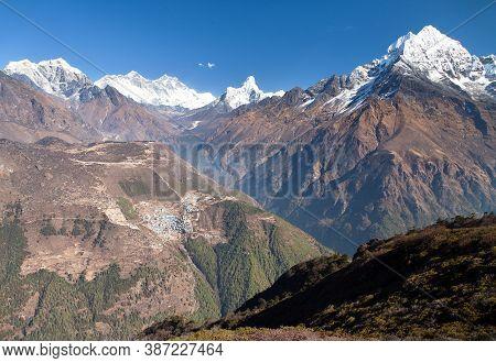 View Of Mount Everest, Lhotse, Ama Dablam And Namche Bazar From Kongde - Sagarmatha National Park -