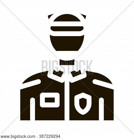 Policeman In Police Suit Glyph Icon Vector. Policeman In Police Suit Sign. Isolated Symbol Illustrat
