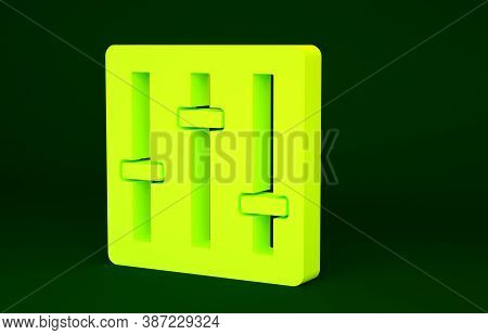 Yellow Sound Mixer Controller Icon Isolated On Green Background. Dj Equipment Slider Buttons. Mixing