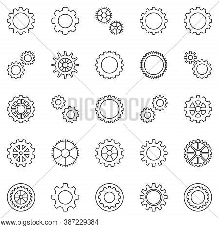 Gear Or Cog Outline Icons Set. Vector Cogwheels And Gear Wheels Concept Line Symbols
