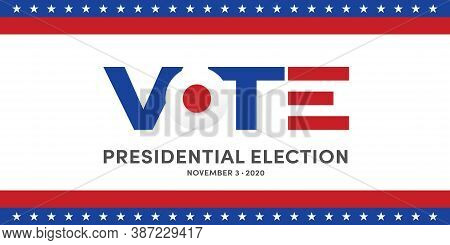 Usa Election Banner With Us Symbols And Colors. Patriotic Stars. Vote. United States Of America Elec