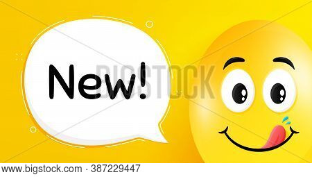 New Symbol. Easter Egg With Yummy Smile Face. Special Offer Sign. New Arrival. Easter Smile Characte