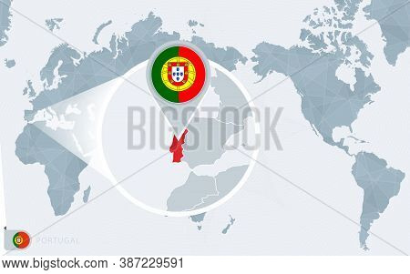 Pacific Centered World Map With Magnified Portugal. Flag And Map Of Portugal On Asia In Center World