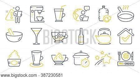 Set Of Food And Drink Icons, Such As Cooking Mix, Martini Glass, Teacup Symbols. Cold Coffee, Espres