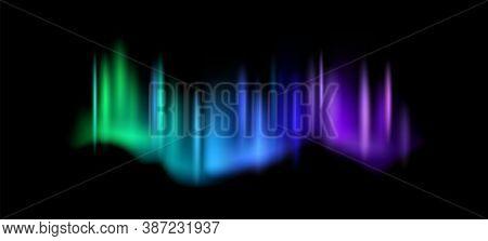 Northern Lights. Aurora Borealis Amazing Polar Lights On Night Sky, Magic Luminescence Vibrant Arcti