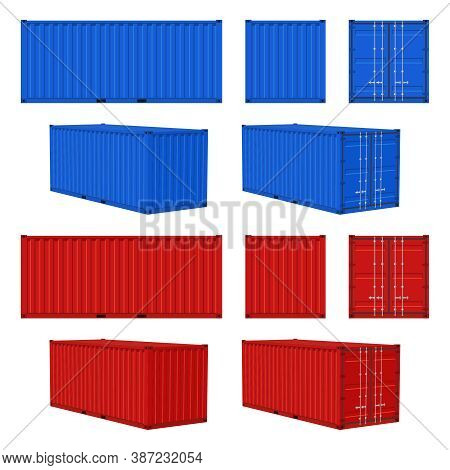 Cargo Container. Blue, Red Closed Cargo Containers Front, Side And Perspective View, Transportation