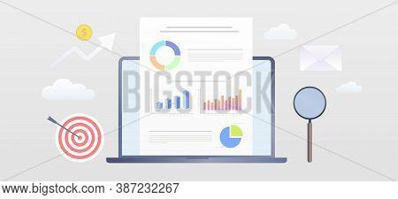 Visual Data Marketing Modern Flat Vector Banner Illustration. Business Data Visualization With Lapto