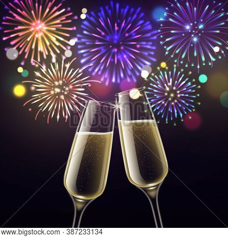 Fireworks And Champagne Glasses. Congratulatory Toast Christmas And Cheers Happy New Year, Birthday