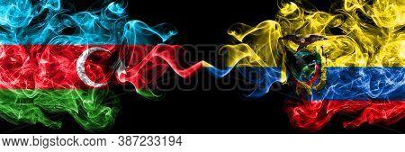 Azerbaijan, Azerbaijani Vs Ecuador, Ecuadorian Smoky Mystic Flags Placed Side By Side. Thick Colored