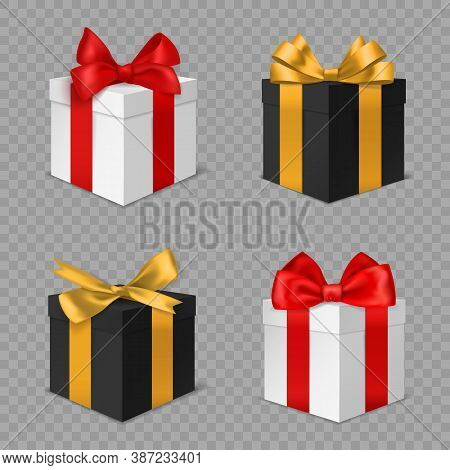 Gift Box With Bow. Black And White Square Closed Christmas Presents With Red And Gold Bows Side View