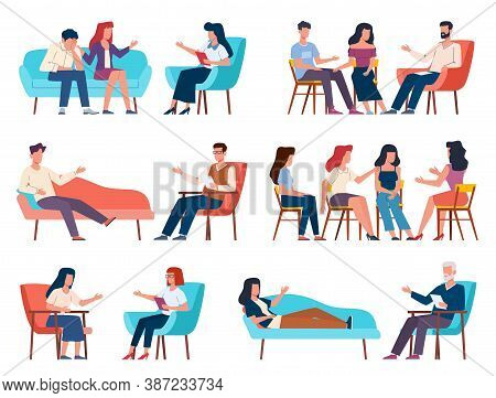 Group Therapy. Men And Women Talking To Psychotherapist Or Psychologist. Psychoanalysis And Family P