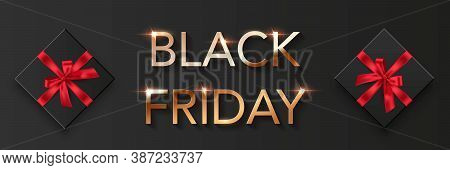 Black Friday Sale Poster Background. Premium Offer With Discounts Advert. Gold Font, Black Boxes Wit