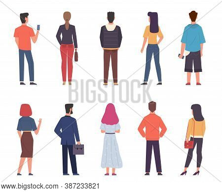 People Back View. Men, Women In Modern Casual Clothes Standing Together In Various Poses Set, Male A