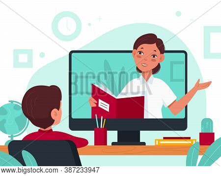 Distance Learning. Online Education Video Lesson During Covid Quarantine, Student At Desk And Teache