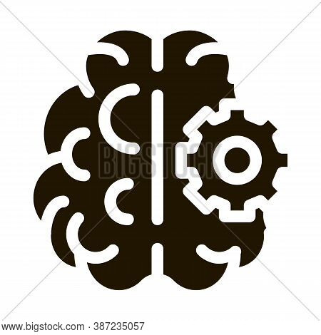 Brain And Mechanism Gear Glyph Icon Vector. Brain And Mechanism Gear Sign. Isolated Symbol Illustrat