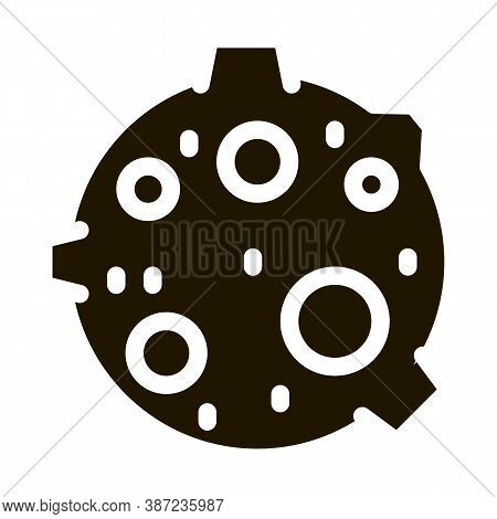 Moon With Craters Glyph Icon Vector. Moon With Craters Sign. Isolated Symbol Illustration