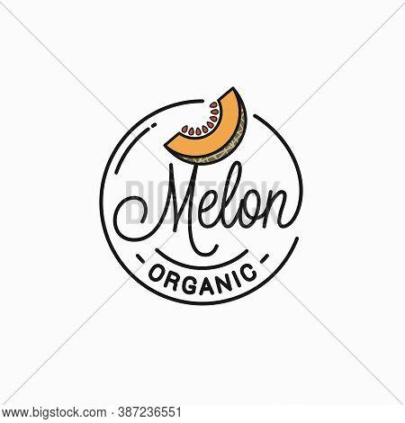 Melon Logo. Round Linear Logo Organic Melon Slice