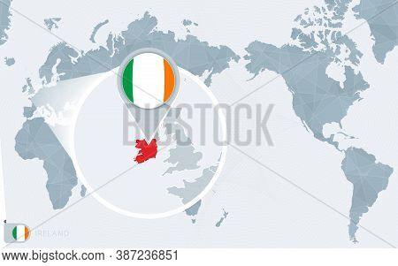 Pacific Centered World Map With Magnified Ireland. Flag And Map Of Ireland On Asia In Center World M