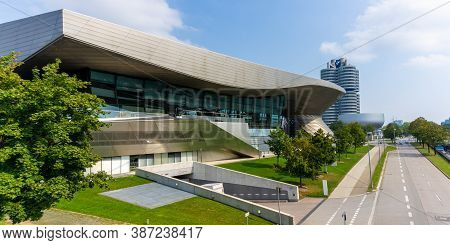 Munich, Bavaria / Germany - 17 September 2020: View Of The Bmw Museum And Headquarters In Munich
