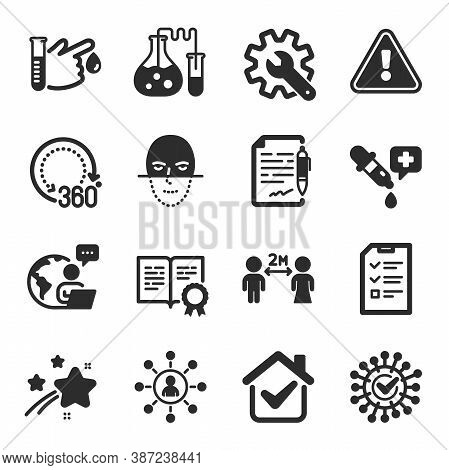 Set Of Science Icons, Such As Agreement Document, Chemistry Lab, Certificate Symbols. Networking, Co