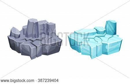 Game Islands With Icy Mountains And Rocks Vector Set