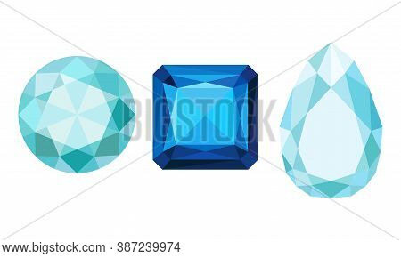 Gems And Diamonds Of Different Shape And Color With Facet Vector Set