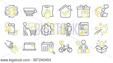 Set Of Line Icons, Such As Delivery Boxes, Flight Destination, Buyer Think Symbols. Search Calendar,