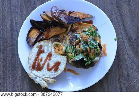 Japanese Umami Burger And Sweet Potato Fries