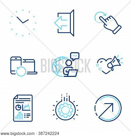 Business Icons Set. Included Icon As Report Document, Direction, Rotation Gesture Signs. Gear, Time,