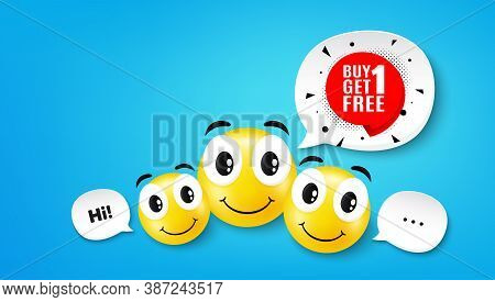 Buy 1 Get 1 Free Sticker. Smile Face With Speech Bubble. Discount Banner Tag. Coupon Icon. Smile Fac