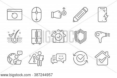 Security, Scroll Down And Recovery Internet Line Icons Set. Pencil, Hair Dryer And Refrigerator Sign