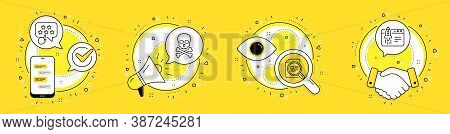 Chemical Hazard, Ranking Star And Check Article Line Icons Set. Cell Phone, Megaphone And Deal Vecto