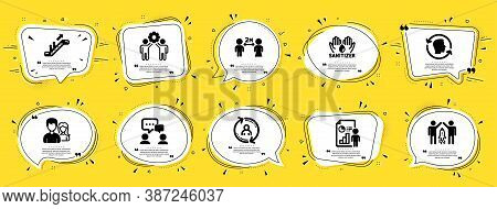 People Icons Set. Speech Bubble Offer Banners. Yellow Coupon Badge. Included Icon As Hand Sanitizer,