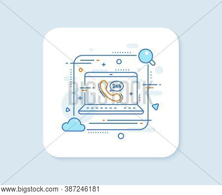 24 Hour Service Line Icon. Abstract Vector Button. Call Support Sign. Feedback Chat Symbol. 24h Serv