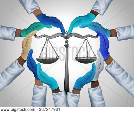 Medical Laws And Legal Medicine Or Malpractice Law As A Group Of Hospital Workers Or Doctor And Nurs